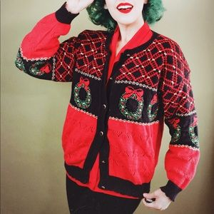 Sweaters - Red Knit Ugly Christmas Sweater Cardigan
